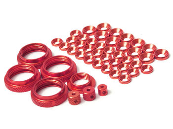 THE Full Colour Kit, ShockRideheightNuts (4pcs), Servosaver Nut (1pcs), washers (M4 12pcs, M3 26pcs), Big collets 2pcs small collet 1pcs (Red)