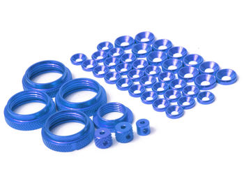 THE Full Colour Kit, ShockRideheightNuts (4pcs), Servosaver Nut (1pcs), washers (M4 12pcs, M3 26pcs), Big collets 2pcs small collet 1pcs (Blue)