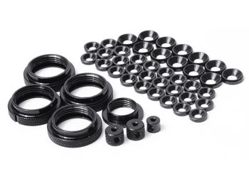 THE Full Colour Kit, ShockRideheightNuts (4pcs), Servosaver Nut (1pcs), washers (M4 12pcs, M3 26pcs), Big collets 2pcs small collet 1pcs (Black)